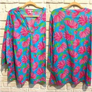 Lilly Pulitzer Turquoise Kissue Flattering Tunic